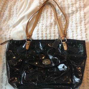 Coach black patent leather shoulder bag - purse
